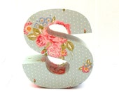 Pink and Blue Floral 3D Freestanding Letters Any Amount Handmade Initial Number Custom Flowers Female Mothers Day Girls Bedroom - RoseberryStore