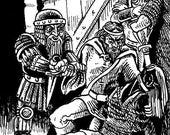 """Original published RPG art """"Prisoner Dilemna"""" from GoodmanGames DCC Series by Stefan Poag"""