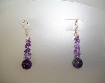Amethyst Earrings, Purple Earrings, Amethyst Bead Earrings, Bead Dangle Earrings, Long Earrings