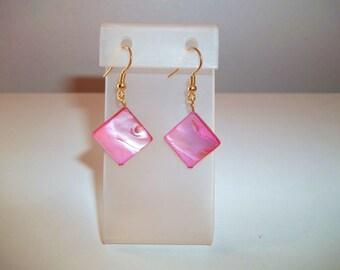 Pearl Earrings, Bright Pink Earrings, Pink Earrings, Drop Earrings, Mother of Pearl Earrings, Diamond Bead Earrings, Bead Earrings