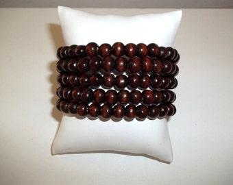 Wood Wrap Bracelet, Coil Bracelet, Memory Wire Bracelet, Wrap Bracelet, Wide Bracelet, Wood Bracelet