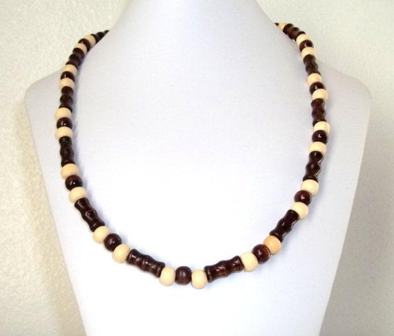 Wood Necklace, Dark Brown Wood, Light Brown Wood, Wood Bead Necklace