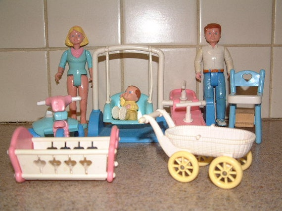 Items similar to Lot Vintage Fisher Price Loving Family doll house Furniture, dolls, see saw ...