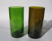 Tall Recycled Wine Bottle Glasses - Set of 2