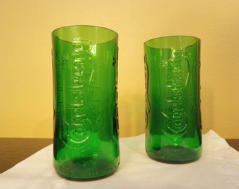 Carlsberg Recycled Emerald Beer Bottle Glasses - Set of 2