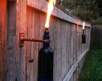 Wine Bottle Tiki Torches - Improved - Set of 4