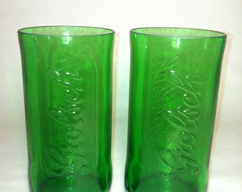 Grolsch Recycled Emerald Beer Bottle Glasses - Set of 2