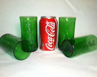 Grolsch Recycled Emerald Beer Bottle Glasses - Set of 4