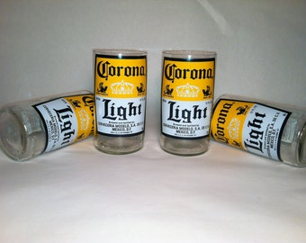 Corona Light Recycled Glasses - Set of 4