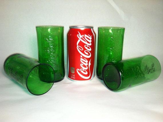 Grolsch Recycled Emerald Beer Bottle Glasses - Set of 4