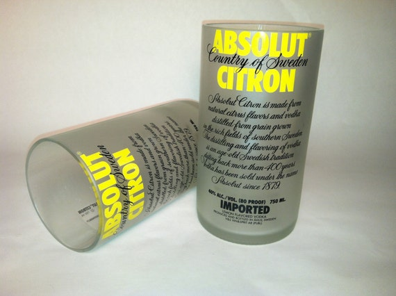 Absolut Citron Vodka Recycled Bottle Glasses - Set of 2