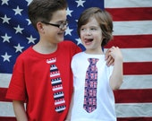 2 Kids patriotic, red, white and blue summer holiday tie tees (your choice of ties)