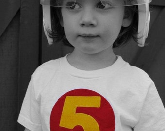 Speed Racer Mach 5 kids t shirt, number 5 birthday tshirt