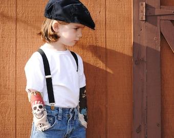 Tattoo sleeves kids white t-shirt, pirate theme