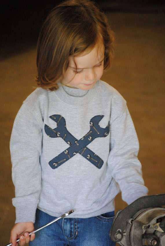 RESERVED for SAMMY Little mechanic grease monkey wrench toddler sweatshirt