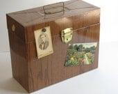 Vintage Faux Brown Wood Porta File - File Box with key