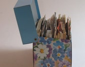 Vintage Blue Floral Recipe Box  filled with vintage recipes - live vicariously