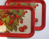 Vintage Red Strawberry TV Trays / Serving Trays / Lap Trays - Set of Two
