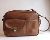Vintage Brown Vinyl Tote / Carry On / Diaper Bag / Messenger Bag