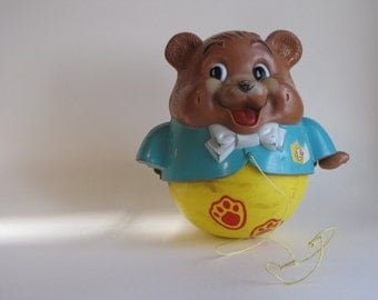 Vintage 1969 Fisher Price Plastic Bear Pull Toy