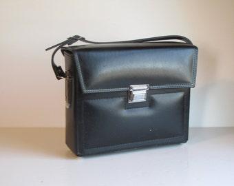 Vintage Black Squarish Camera Case / Bag / Purse with strap - interior is gray