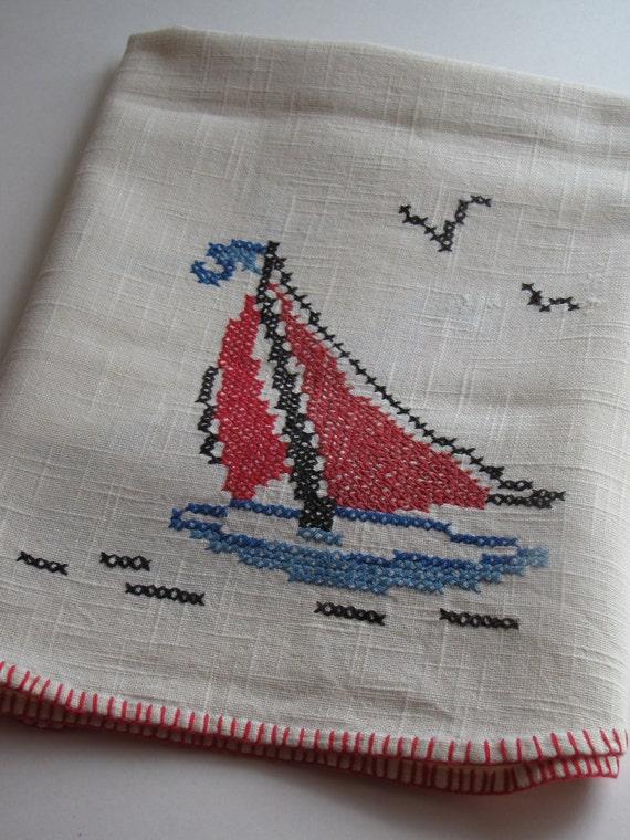 Vintage Sailboat / Nautical Dresser Runner / Table Runner