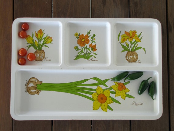 Vintage Plastic Serving Tray with compartments - iris, daffodil, crocus, anemone
