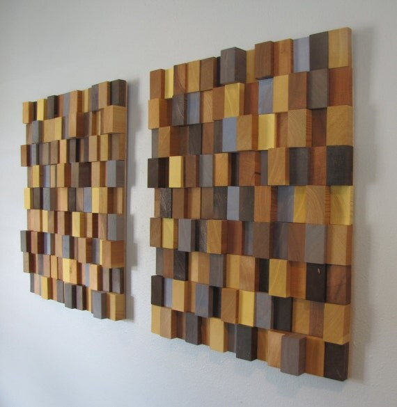 Handmade 3D Wooden Block Modern Wall Art Pair (Large) - browns, blues and yellows