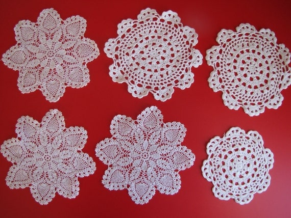 RESERVED Vintage Crocheted White Doilies - Lot of Six