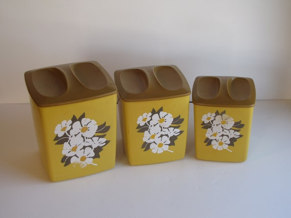 Vintage Mustard Yellow and Brown Canisters - Set of Three