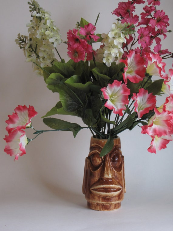 Vintage Brown Easter Island Style Tiki Mug / Vase