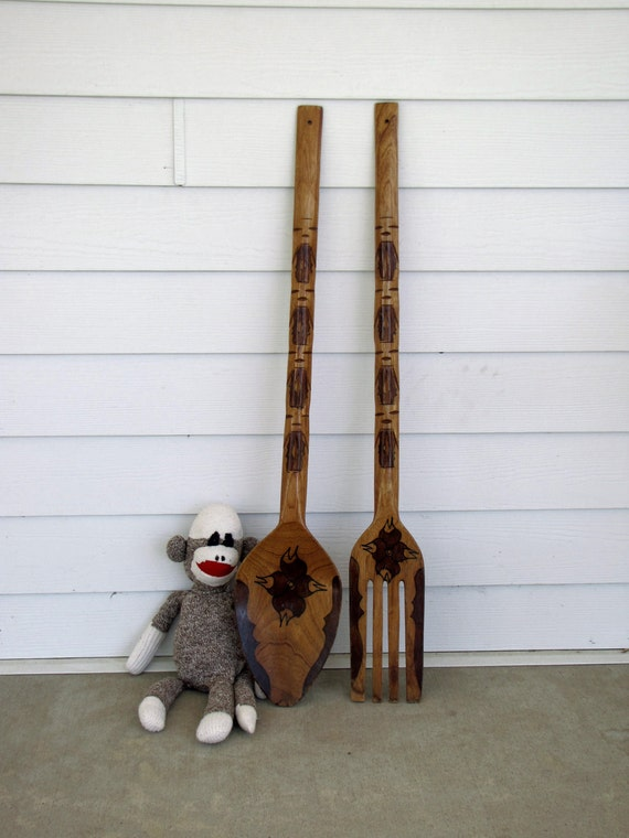 Vintage Giant Spoon and Fork Set Wall Hanging