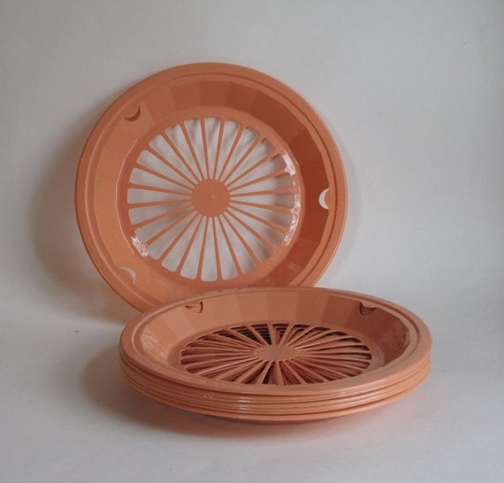 Vintage Plastic Paper Plate Holders Set Of Eight Peach