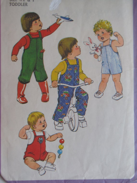 Vintage 1978 Toddler Jon Jon Overall Pattern - Simplicity 8718 - Size 1/2 and 1, Baby Pattern