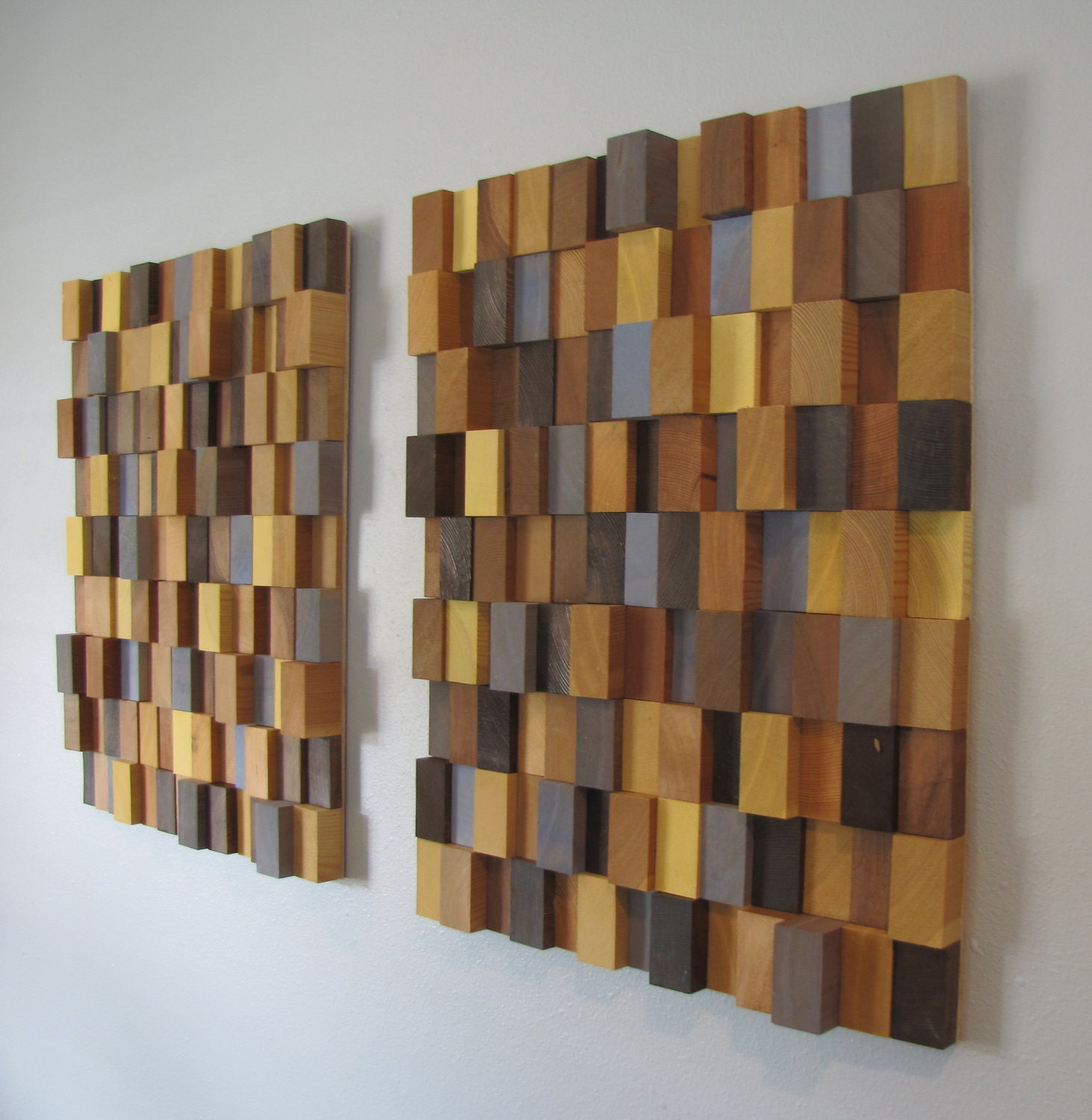 Contemporary Wood Wall Decor : Handmade d wooden block modern wall art pair large