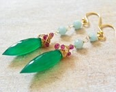 RESERVED. Gemstone Cluster Earrings with Bright Green Onyx, Garnet and Aqua Amazonite. Long Statement Earrings. Free Shipping.