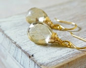 Gemstone Earrings with Champagne Quartz and 14k Gold. Simple, Feminine Earrings. Free Shipping.