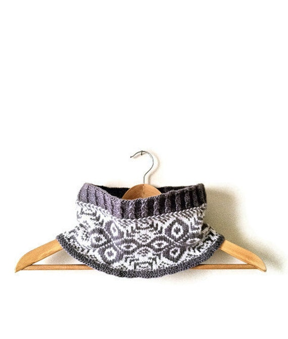 SALE Knit cowl in fair isle gray and white. Free shipping. Mother's Day Gift.