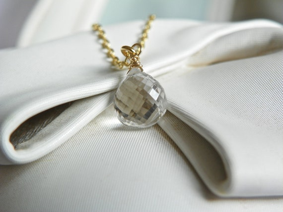 Clear Dew Drop Quartz Necklace with 14k gold vermeil. Spring and Summer Wedding Jewelry. Free shipping.