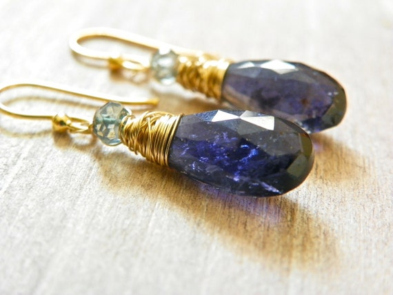 RESERVED. Blue Gemstone Earrings with Topaz and Iolite. Delicate Dangle Earrings with 14k Gold. Free Shipping.