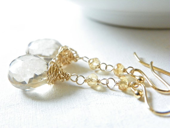 14k Gold Earrings with Champagne Quartz. Gemstone Earrings in Honey. Simple, Feminine Jewelry. Free Shipping.