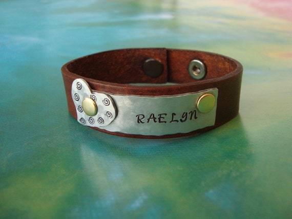 Personalized Hand Stamped Leather Bracelet