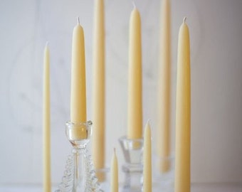 "Pure Beeswax Hand Dipped Taper Candles - 6"" (6 pair box)"