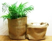 Burlap Bags- PAIR- Natural Color- Decorative- Any Room- Home Decor- Under 10 dollars