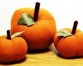 Set of 3 Autumn, Fall Decorative Pumpkins- Home Decor-  Room Decor- Fall Decor- Orange-  Trio