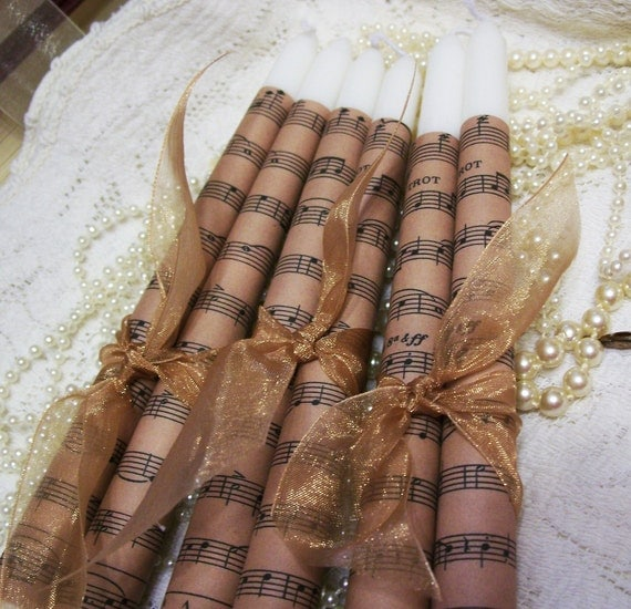 Antiqued Music Taper Candle Set of Two for Home Decor- Unique- Decoupaged