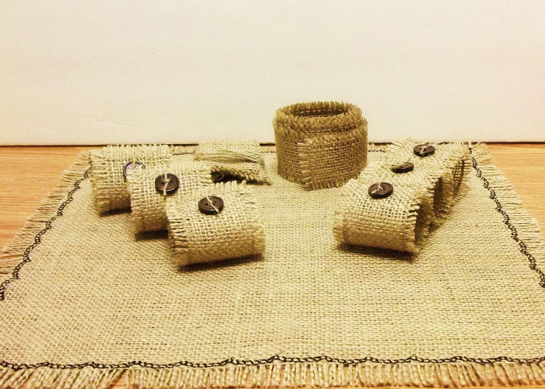 Burlap Dining Set Mat Napkin Rings Ribbon by SimpleJoysDecor