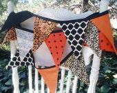Bunting Banner Garland- Orange, Black and Cream