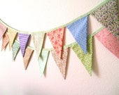 Sweet Pastels Bunting Banner Garland- Easter Bunting- Flowers and Gingham, Holly Hobby, Photo Prop