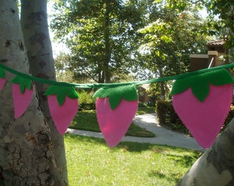 Pink Strawberry Bunting Banner Garland-Strawberry Hot Pink